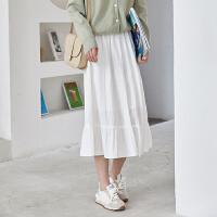 白色半身裙中�L款女高腰甜美荷�~�文�日系小白裙�@瘦洋�獬�偃�