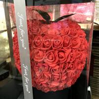 香皂花礼盒装永生花玫瑰苹果摆件圣诞节平安夜情人节日创意礼品物 红色