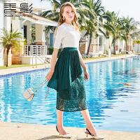 蕾丝半身裙 香影2018春装新款时尚修身百褶拼接高腰裙显瘦中长裙