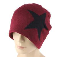 针织帽男士冬季加绒毛线帽户外保暖套头帽子女包头帽子 均码55-62cm