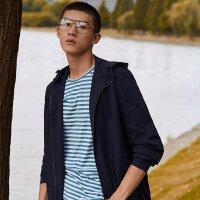 【1件2.5折到手价:169.8】MECITY男装轻薄中长款韩版连帽风衣外套潮流时尚