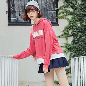 欧若珂 2018秋季新款韩版休闲宽松字母印花假两件套连帽卫衣女