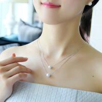 新款韩国时尚气质925银珍珠母贝吊坠双层项链女个性短款锁骨链TY(