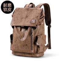 男士休闲旅行学生电脑书包双肩包男潮牌街头欧美时尚潮流简约背包
