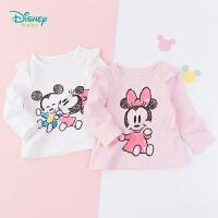 【99元3件】迪士尼Disney童装女童花边长袖上衣米奇米妮卡通印花T恤秋季新品纯棉外衣193S1242