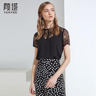 女装2018夏装新款黑色蕾丝衫钩花镂空拼接一字肩圆领短袖上衣女夏