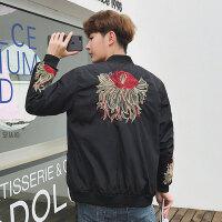 男士外套春秋2018新款韩版潮流春季休闲修身帅气个性潮男夹克 黑色 T#1103
