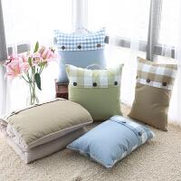 地中海格子靠垫被汽车办公室沙发多用靠枕夏季空调被抱枕被