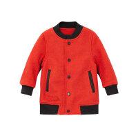 【2件2.5折到手价:89.75】米喜迪mecity童装外套男童红色棒球领拼皮羊毛呢大衣外套