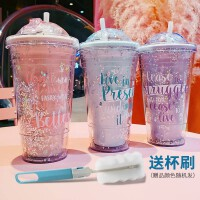 双饮杯流沙创意杯子男女学生韩版可爱少女心冰杯防摔塑料吸管水杯