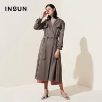 INSUN/恩裳商场同款通勤OL时尚系带100%山羊绒保暖中长款毛呢大衣