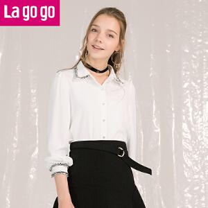 Lagogo2017冬季新款时尚翻领上衣雪纺休闲商务职业长袖白色衬衫女