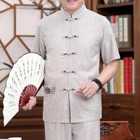 男士唐装男夏中老年人短袖中国风亚麻套装爷爷老人夏季薄款爸爸