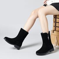 雪地靴女短筒加绒加厚2018新款雪地棉真皮大棉鞋棉靴一脚蹬短靴女SN8006