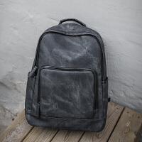 双肩包男时尚潮流韩版旅行背包男士商务休闲电脑包高中大学生书包 气质黑 -小礼物