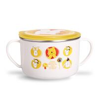 韩国爱婴小铺迪士尼妙趣维尼可分离不锈钢大面碗双手柄宝宝防摔碗