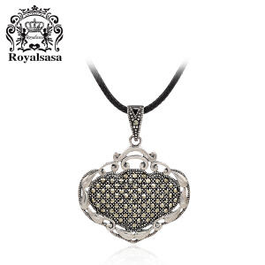 皇家莎莎S925银项链吊坠颈链闪耀吉祥富贵锁(赠送银链)