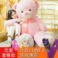 泰迪熊熊猫毛绒玩具公仔布娃娃抱抱熊女孩送女友可爱睡觉抱萌韩国 【恋爱套餐款】