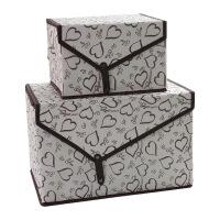 大号有盖牛津布艺收纳箱衣物储物箱装衣服的箱子内衣收纳盒整理箱 1大1小两件套