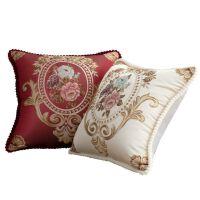 客厅欧式靠枕腰枕沙发抱枕复古红木靠垫套子含芯50办公室酒店靠包