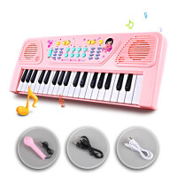 ?37键电子琴儿童玩具礼物婴幼益智钢琴初学男女孩1-2-3-6周岁宝宝? 【粉色充电版】充电电池话筒 琴谱琴贴琴谱架