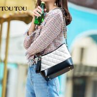 toutou2017夏天新款韩版女包菱格链条包小香风单肩斜挎包流浪包包
