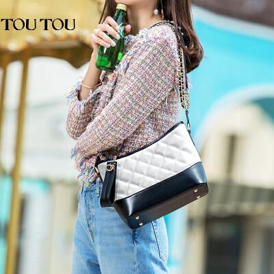 toutou2017夏天新款韩版女包菱格链条包小香风单肩斜挎包流浪包包火遍时尚圈 多种背法提升美感!