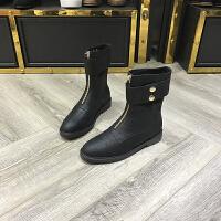 2017冬季新款女鞋真皮圆头中筒中跟加绒马丁靴棉靴欧货