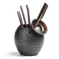 功夫茶具配件套装整套黑檀实木陶瓷零配组合 茶道六君子