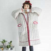 睡袍女冬珊瑚绒加厚加长款可爱棉睡衣加肥加大200斤胖mm大码浴袍 8902