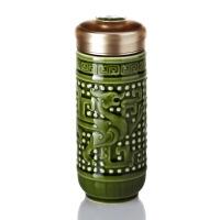 乾唐轩活瓷杯大龙凤随身杯双层创意陶瓷商务办公水杯子礼品