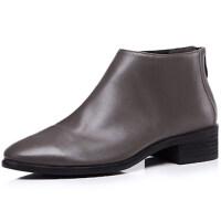 2018秋季新款单靴软真皮短靴女士平底粗跟及踝靴子中跟裸靴马丁靴