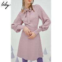 【2折到手价199.8元】全场叠加100元券 【SMART系列】Lily春新款女装系带灯笼袖连衣裙118340C7647