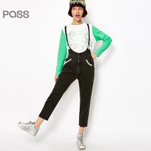 PASS女装春装新款 潮流撞色学生街头百搭背带长休闲裤6611952027