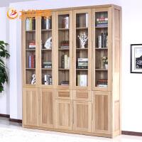 北欧篱笆实木书柜书架组合格子柜书柜带门定制书柜书架 简约现代