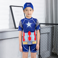 2017儿童游泳衣男中童防晒3-5-7-9-10岁男孩学生连体速干温泉泳装 深蓝色