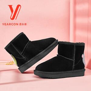 【甜美纯色雪地靴】意尔康女鞋 2018冬季新款真皮舒适平底棉鞋短筒靴