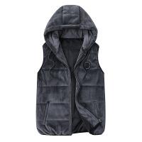 秋冬季男士连帽羽绒棉马甲加绒外套