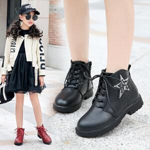 女童靴子秋冬季2018新款加绒短靴单英伦风小女孩马丁靴儿童公主靴