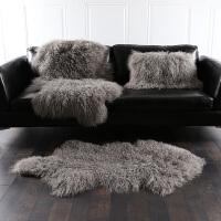 整张羊皮沙发垫皮毛一体羊毛垫自然卷羊毛沙发垫滩羊皮毛坐垫 自然羊皮【60*100CM】