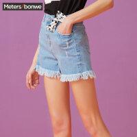 【1件4折到手价:47.6】美特斯邦威牛仔短裤女流苏裤子破洞显瘦韩版夏装新款商场款