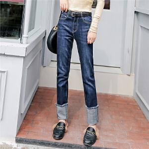 七格格牛仔裤女春秋新款韩版显瘦学生高腰宽松翻边直筒长裤子