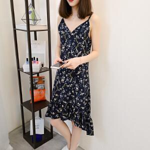 2018夏季新款V领碎花图案背带连衣裙女韩版宽松显瘦背心裙时尚潮
