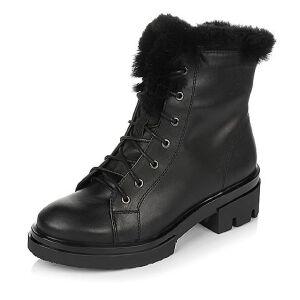 Teenmix/天美意冬季专柜同款黑色牛皮时尚休闲马丁靴女短靴(绒里)6R543DD6