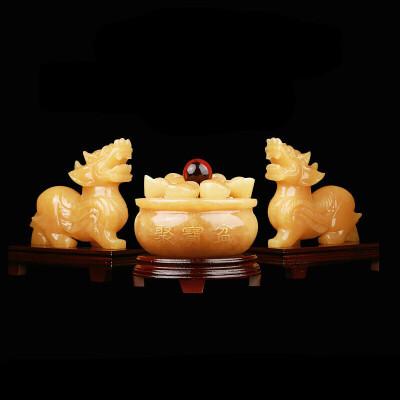 0712162858403黄玉石貔貅摆件一对号旺财客厅玄关吉祥摆件 经典版 一般在付款后3-90天左右发货,具体发货时间请以与客服协商的时间为准