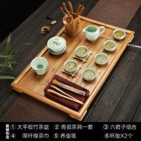 家用平板茶台排水大小号 竹制茶盘实木简约茶海功夫茶具套装茶托盘