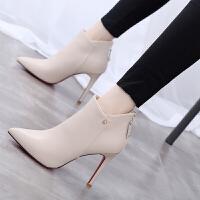 短靴女细跟高跟鞋2018秋冬新款欧美时尚简约尖头马丁靴及踝靴红色