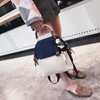 韩版时尚百搭背包女包包2018新款撞色休闲尼龙双肩包简约手提包潮
