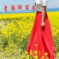 2018春秋雪纺半身裙色大摆裙三层显瘦飘逸沙滩度假裙子a字长裙