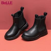 【超品价:189.4元】百丽童鞋女童烟筒靴2020秋冬新品大童加绒保暖时装靴儿童切尔西靴